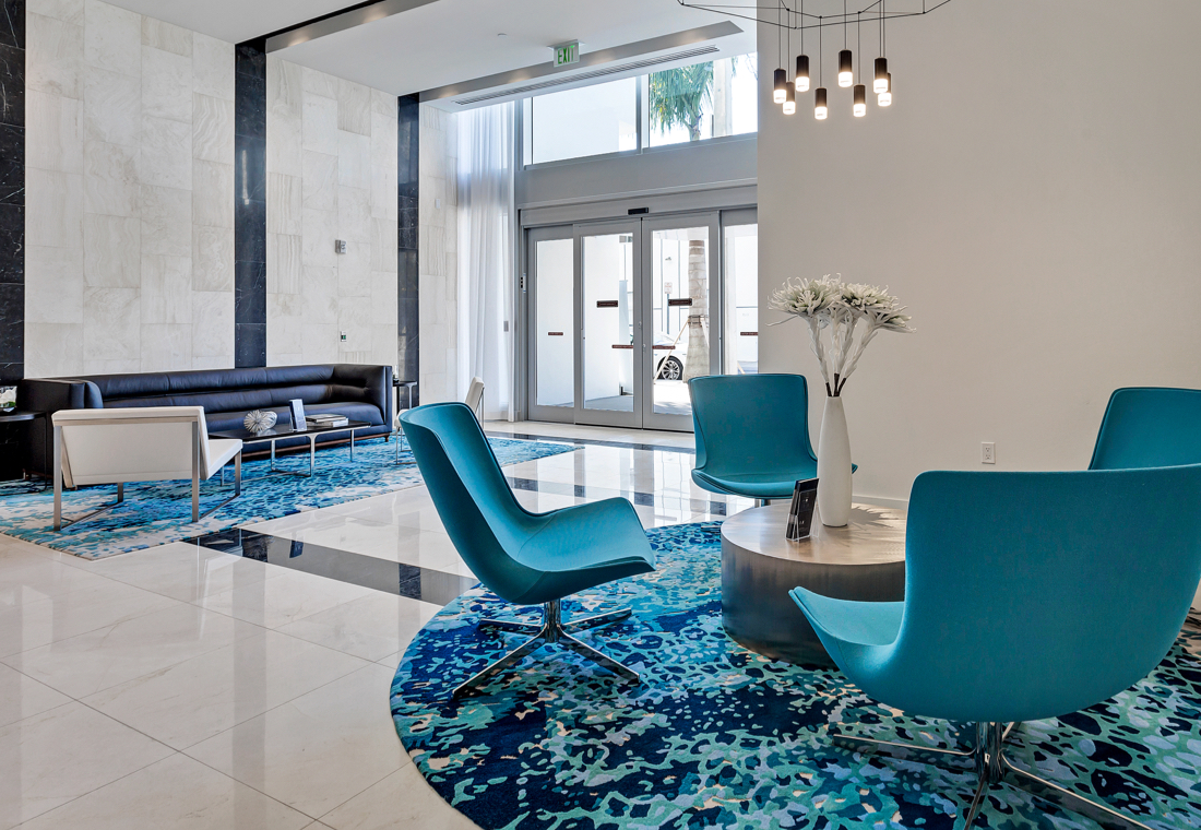 Seating area in a luxurious lobby