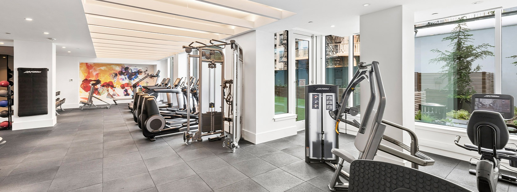 Eve East Village Fitness center with large windows