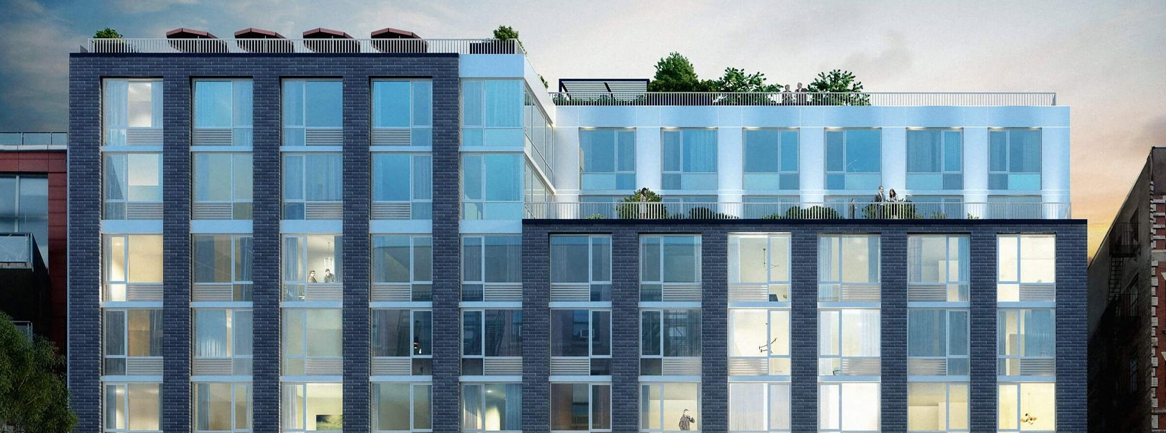 Eve East Village high-rise apartments with large windows