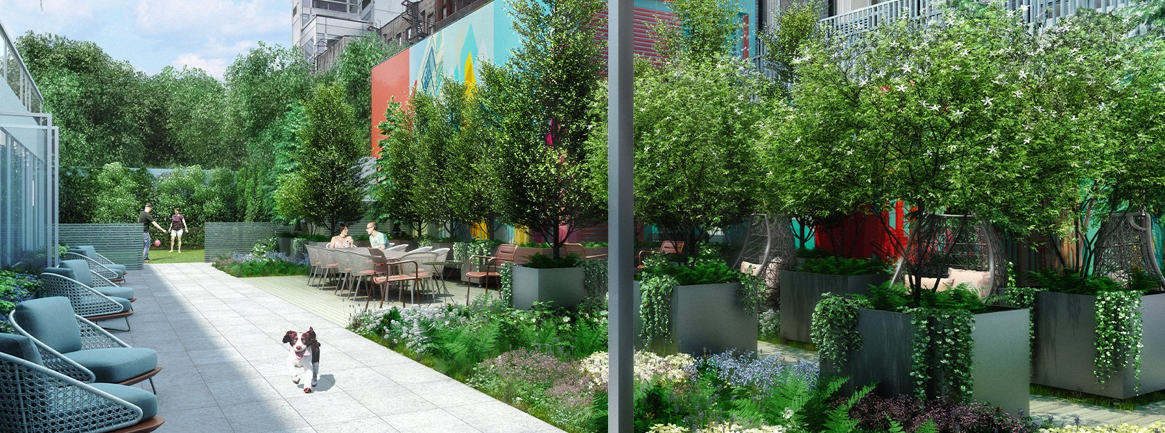 Eve East Village garden with lounge chairs