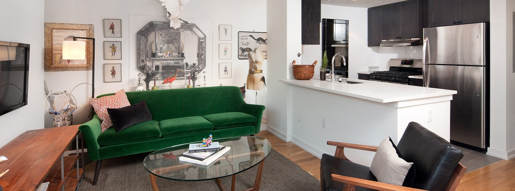50 North 5th Apartments open living space and kitchen