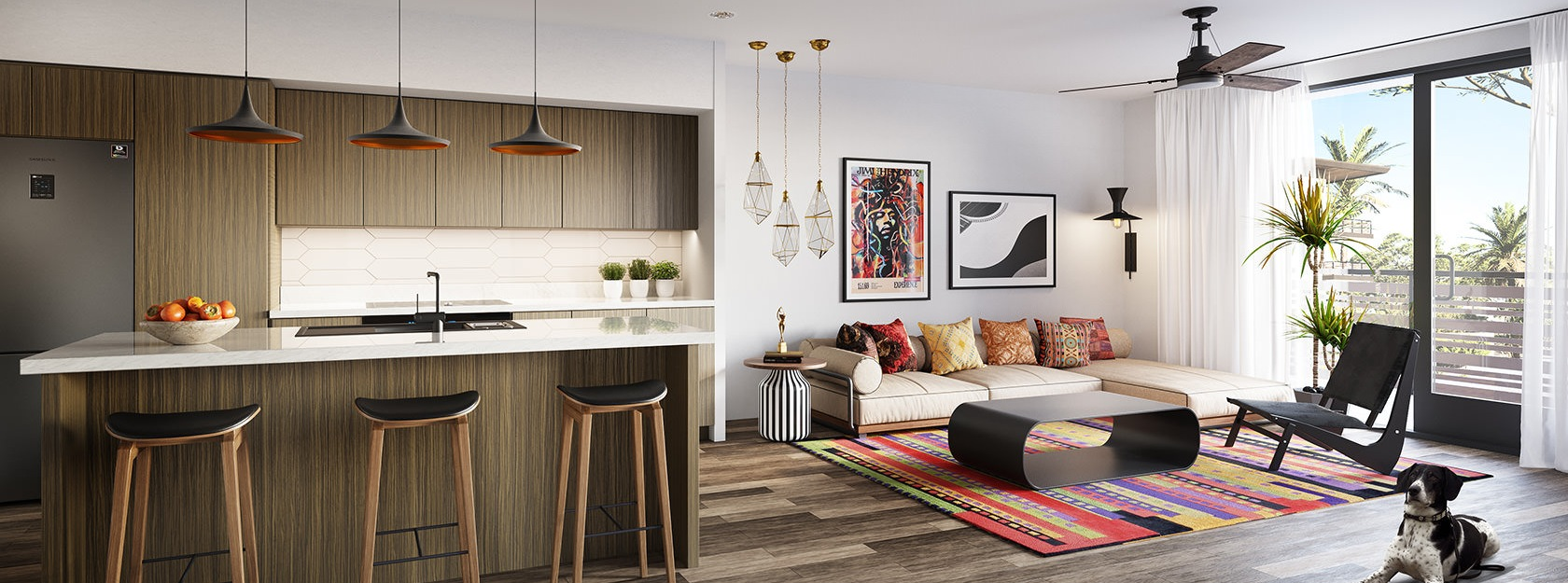 open concept apartment layout with ample lighting throughout