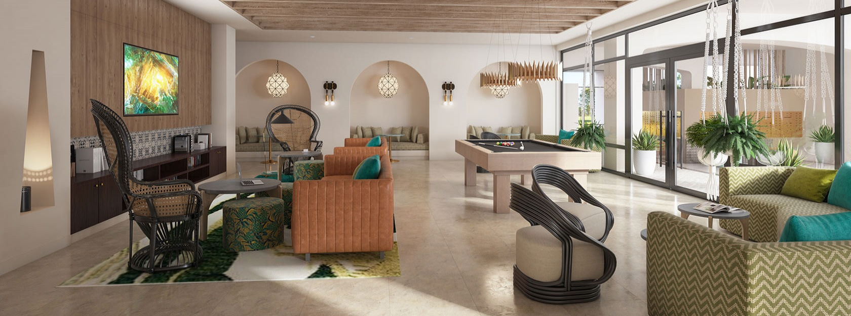 spacious clubroom rendering with billiards table and lounge area